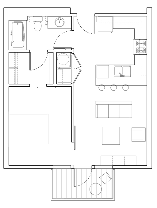 Level 1 Bedroom-B Floor Plan
