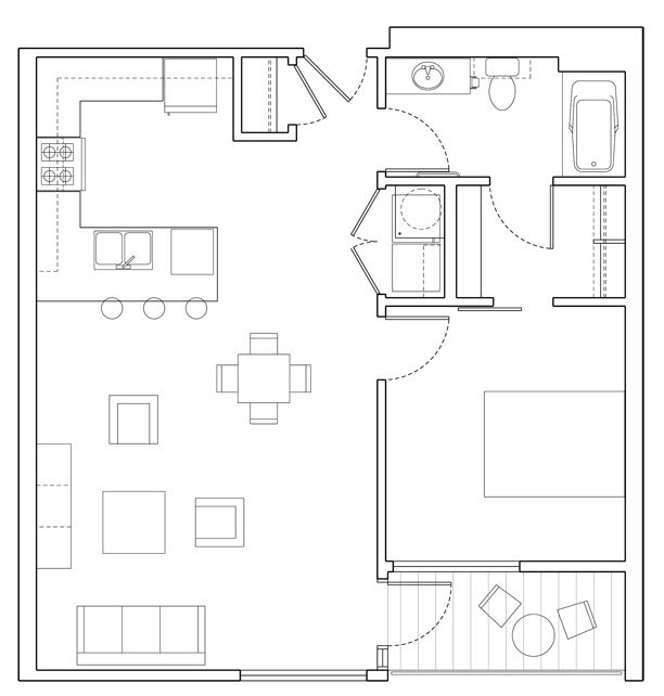 Level 1 Bedroom-C Floor Plan