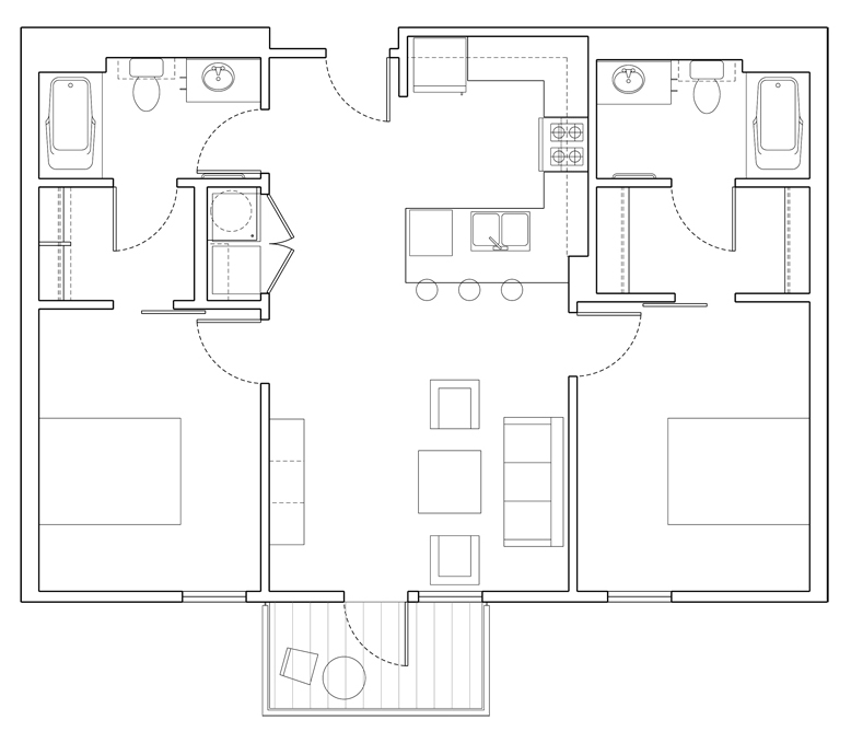 Level 2 Bedroom-B Floor Plan