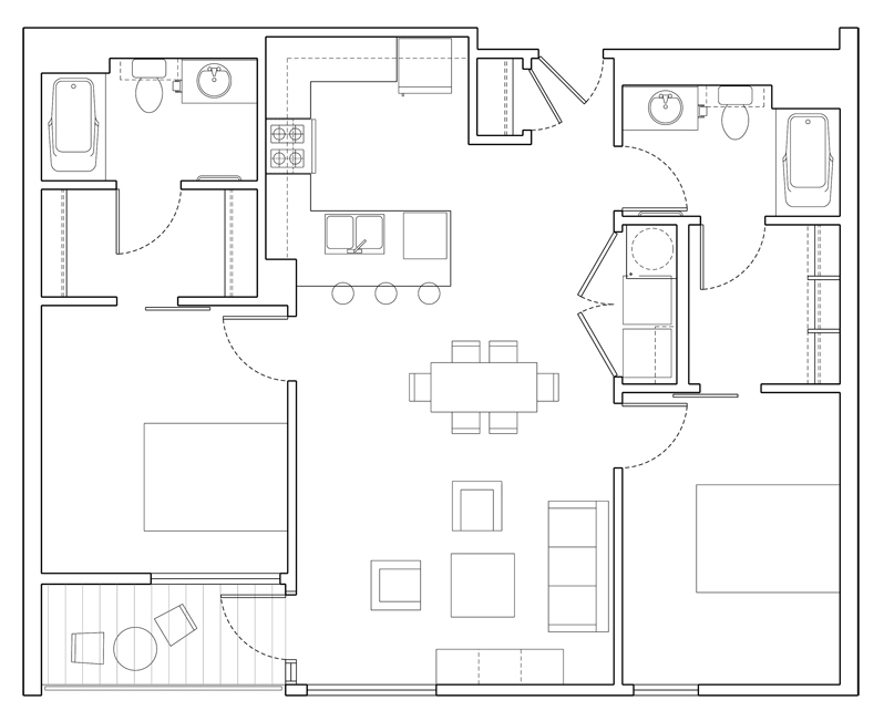 Level 2E two bedroom floor plan